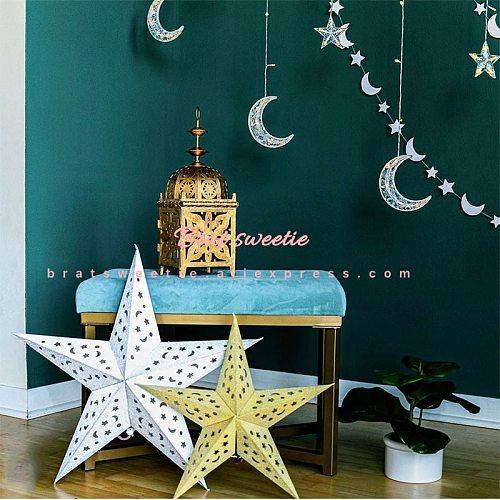 Islamic Ramadan Kareem Star Lantern Lights EID Mubarak Banner Paper Fans Decor Gifts Ramadan Decorations for Home
