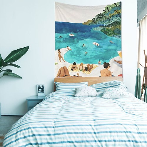 Tropical Style Polyester Tapestry Wall Hanging Home Decor Portrait Print Bedroom Tapestry Wall Fabrics Cartoon Decorative Carpet