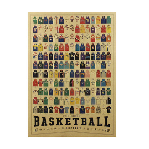 Basketball superstar classic jersey Daquan retro kraft paper poster cafe theme bar decoration painting wall stickers