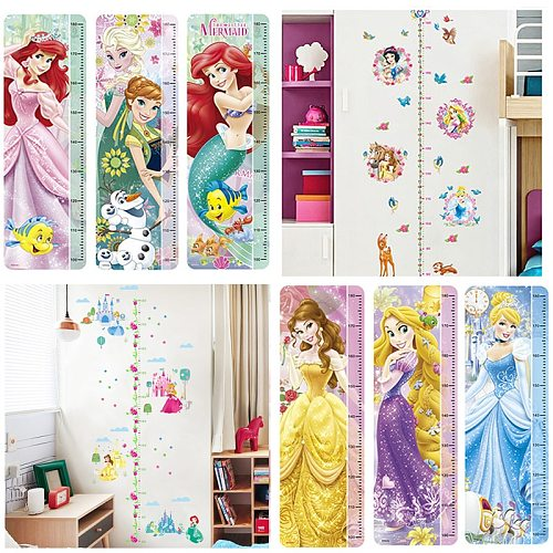 Diy Cartoon Princess Theme Growth Chart Wall Stickers For Home Decoration Kids Height Measure Wall Decals Anime Mural Art