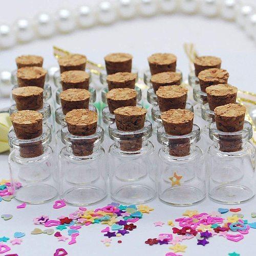 50pcs Mini Glass Bottles Delicate Cork Stoppers Wish Bottles DIY Miniature Bottles Cute Glass Box Jars 0.5ml Botellas De Vidrio