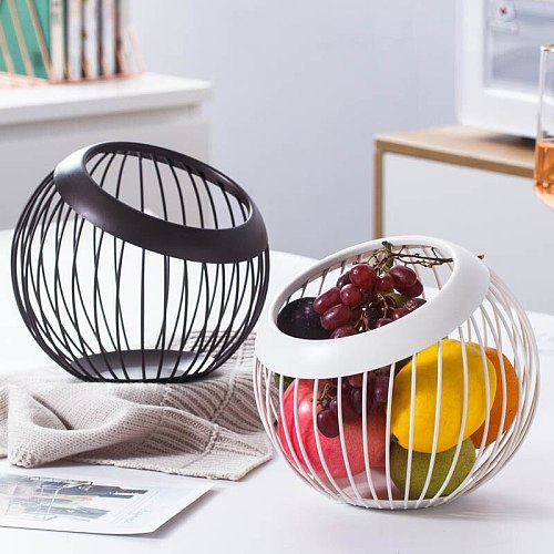 Iron Metal Hollow Fruit Plate Creative Ball Shape Living Room Home Storage Basket Countertop Vegetables Fruit Serving Bowl