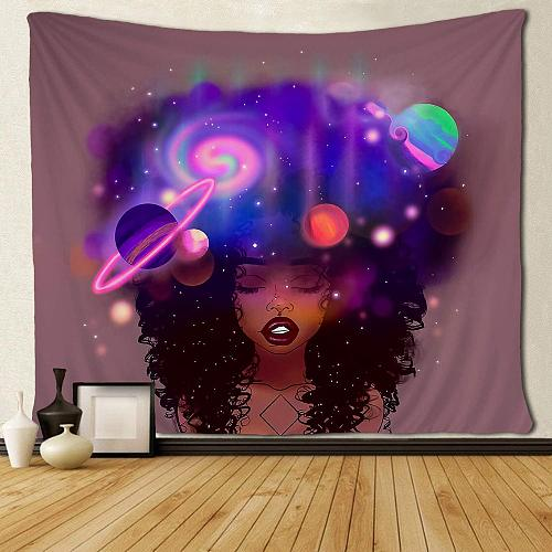 Black Girl Afro African American Women with Galaxy Hair Wall Hanging Tapestries
