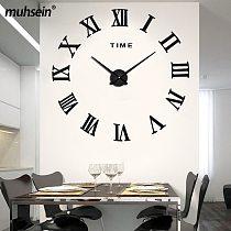 Muhsein Modern Wall Clock 3D Roman Numerals Clock Large Size DIY Wall Sticker Clock Home Decor Mute quartz Watch Free Shipping