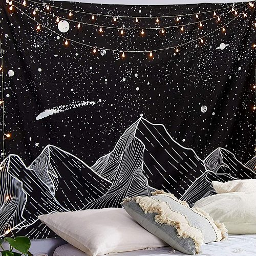 Sun Moon Black Tapestry Wall Hanging Ancient Mountain Wall Tapestry Witchcraft Hippie Tapestry Wall Carpets Psychedelic Tapestry