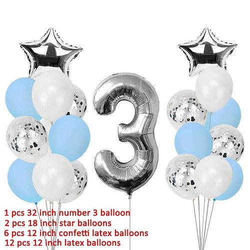 3 Years Happy Birthday Balloons Party Decorations 3rd I Am Three Boy Banner Third Birthday Supplies