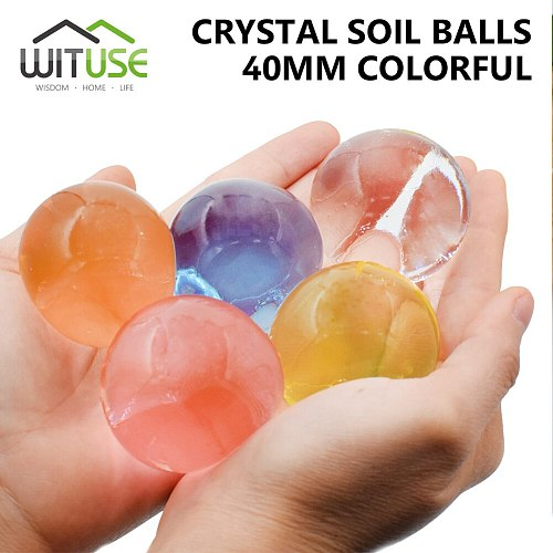 WITUSE 3-4cm Crystal Soil 100pcs/lot Large Hydrogel Pearl Shaped Big Water Beads Mud Grow Ball Wedding Growing Bulbs Home Decor