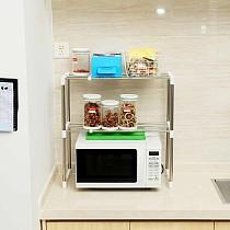 Stainless Steel Adjustable Multifunctional Microwave Oven Shelf Rack Standing Type Double Kitchen Storage Holders Home Bathroom