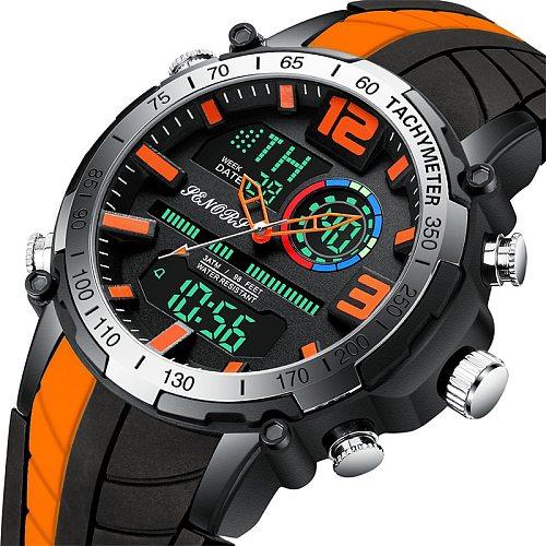 2021 New Men Watch Top Brand Luxury Fashion Dual Display Wristwatch Analog Digital Sports Waterproof Clock Relogio Masculino