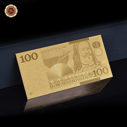 .999 Gold Banknote Embossed 1973 Year's Netherlands 100 Gulden Craft Gifts