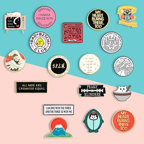 Cartoon creative brooch, round personality badge, little yellow duck, geometric letters, shark, waves, cat, Mount Fuji lapel pin