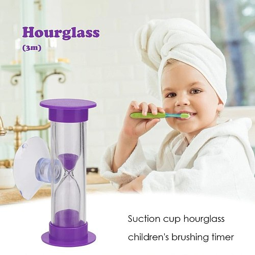 3 Min Mini Hourglass for Shower / Kids Teeth Brushing Timer with Suction Cup Lead-free Time Hourglass Thermometer Clock Watches