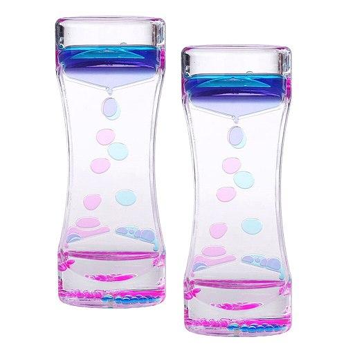 2PCS Two Color Timer Sandglass Creative Waist Shape Oil Hourglass Liquid Motion Bubble Desk Toys Gifts Decoration (Blue, Rosy)