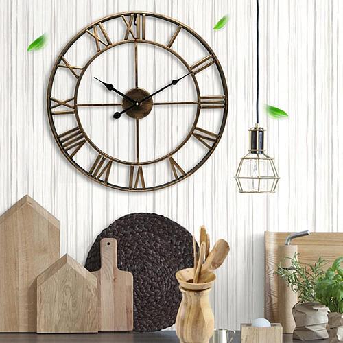 Wall Clock European Retro Hollow Metal Round Clock Home Kitchen Living Room Decoration Iron Clock