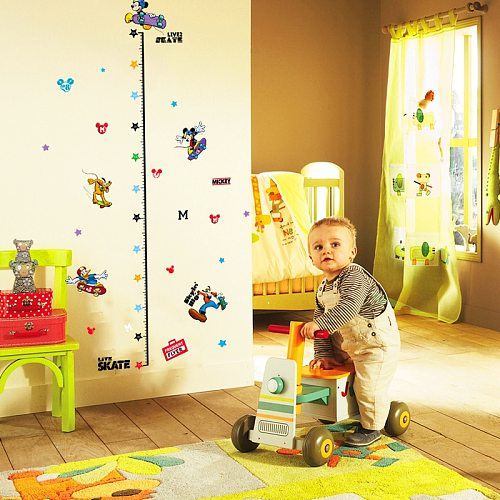 Cartoon Mickey Height Measure Wall Stickers For Kids Rooms Decor PVC Growth Chart Wall Decals Diy Removable Posters Wall Art