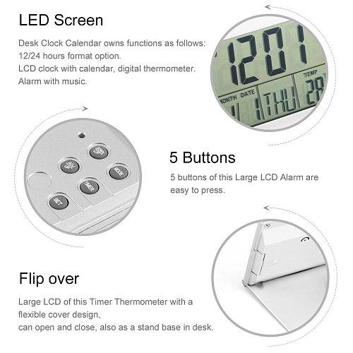 Modern Design Folding Portable Desk Digital LCD Display Thermometer Calendar Alarm Clock Flexible Cover Data Time Desk Clock