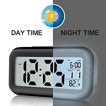 Digital Alarm Clock Student Clock Large LCD Display Snooze Kids Clock Light Battery Sensor Nightlight Office Table Clock