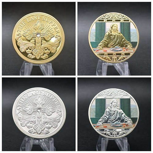 Jesus Last Supper Gold Plated Souvenir Coin Art Collection Collectible Christmas Commemorative Coin Non Currency Coin