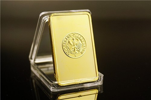 DEUTSCHE REICHSBANK 1 Ounce German GOLD PLATED BAR --- GERMAN IRON CROSS GOLD BAR Drop shipping
