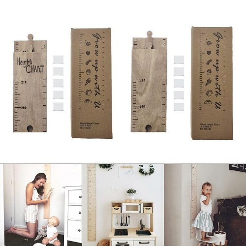 Wooden Wall Hanging Baby Height Measure Ruler Wall Sticker Decorative Props Child Kids Growth Chart Bedroom Home Decoration