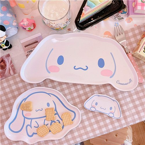 Cute Fruit Plate Kitchen Accessories Melamine Big Ear Dog Grid Plate Cake Snack  Fruit Plate Kitchen Accessories Bowl
