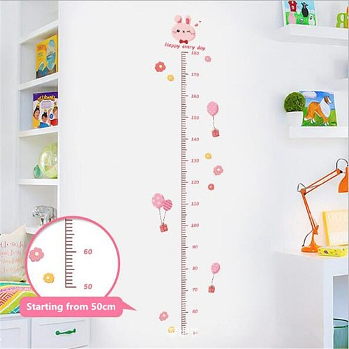 1PC Cartoon Rabbit Height Ruler Wall Sticker Pink Bunny Child Growth Chart For Kids Room Height measure Stickers Art Home Decor