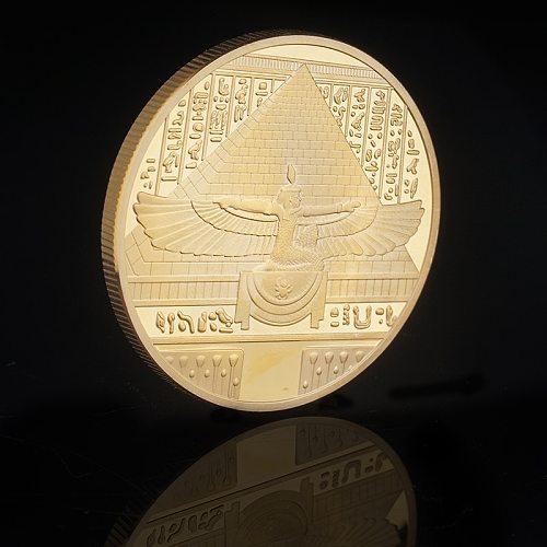 Egyptian Nefertiti Figure Pyramid Art Commemorative Coin Sundial Gold Coins Collection Home Decoration Accessories