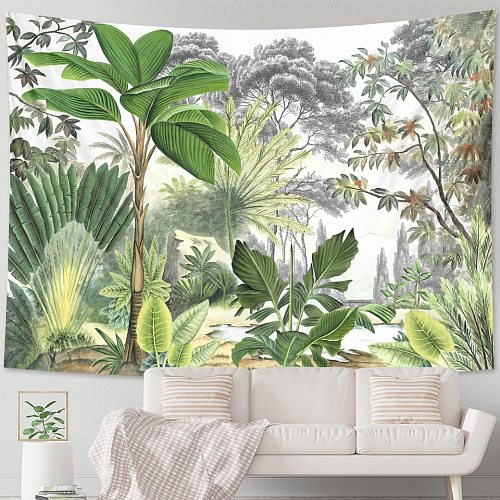 Tropical plants palm leaves flowers home decor tapestry wall hanging pattern bohemian decor tapestry hippie sheets beach mat