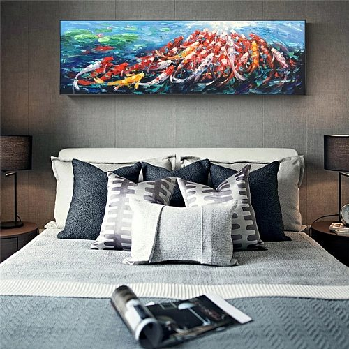 Wall Canvas Art Picture Print Abstract Fengshui Koi Fish Lotus Landscape Chinese Painting & Calligraphy Poster For Living Room