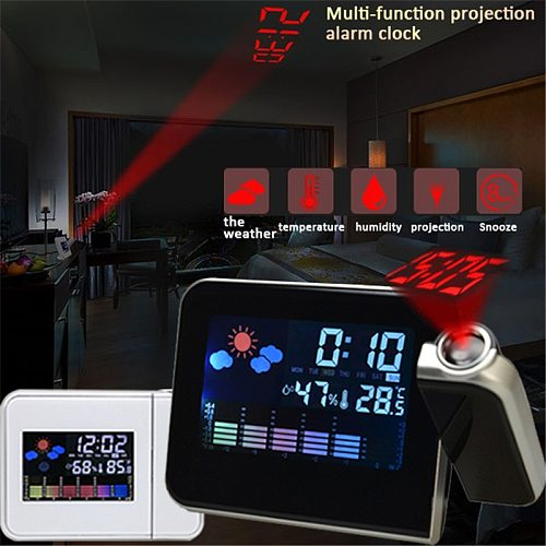 LED Digital Projection Alarm Clock Temperature Thermometer Desk Time Date Display Projector Calendar USB Charger Table Led Clock