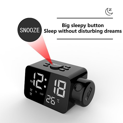 Multifunction Rotatable LED Projector Digital Alarm Clock FM Radio Temperature Sensor With Snooze Function For Home Decoration