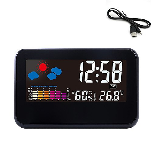 Household Clock 2618T Temperature Humidity Color Screen Clock Creative Weather Forecast LCD Backlit Voice Control Alarm Clock