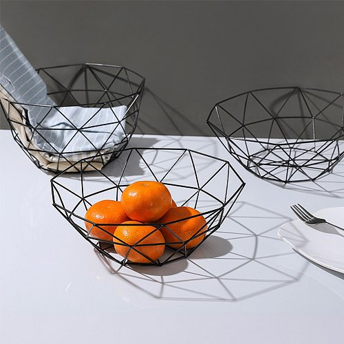 Kitchen Basket Container Bowl Metal Wire Basket Kitchen Drain Rack Fruit Vegetable Storage Holder Snack Tray Bowl Table Storage