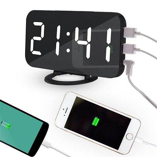 Modern Design Digital Snooze Alarm Desk Clock With Phone Recharge USB Ports LED Mirror Office Destop Clocks Table Watch Bedroom