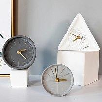 Brief Bedside Mute Desk Clock Sweep Second Cement Bedroom Electronic Desk Digital Clock Table Watch Masa Saati Home Decor EK50TC
