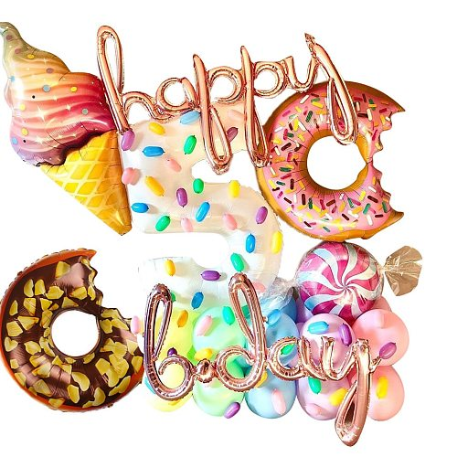 1PC 36inch Big Donut Digital Balloons Ice Cream Candy Balls Baby Shower Birthday Party Decoration Sweet Kids Toys DIY Supplies