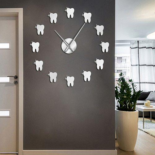 Contemporary Acrylic Mirror Effect Tooth 3D DIY Wall Clock Dentist Teeth Dental Office Wall Art Deco Clock Watch Gift For Doctor