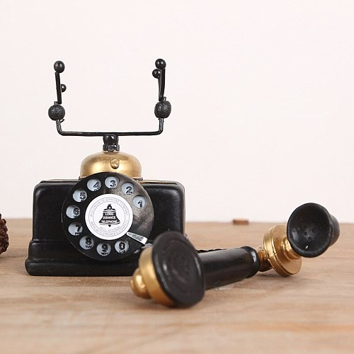 European Retro Resin Vintage Telephone Set Living Room Cafe Home Decoration Crafts Creative  For Office Display Crafts