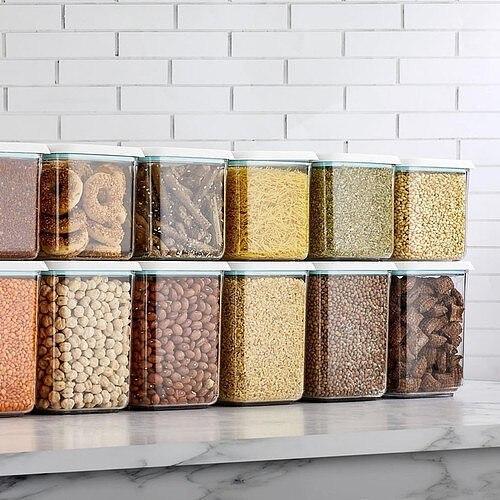 Kitchen Storage Organizer 12 Pcs Food Box Plastic Clear Container Set Vacuum High Quality Baskets Bottles Jars Dried Grains Tank