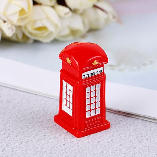 Red Telephone Booth Figurine miniature ornament resin craft fairy garden cartoon Building statue toy home decoration