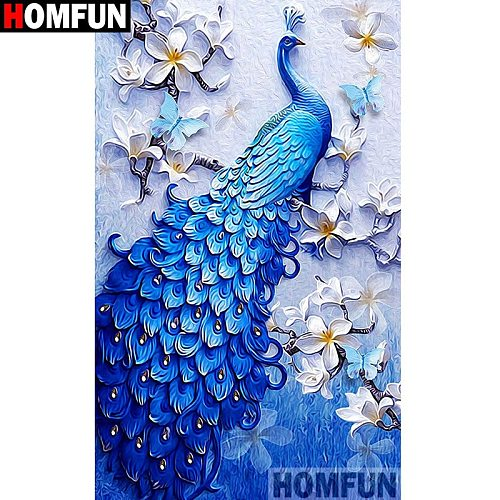 HOMFUN Full Square/Round Drill 5D DIY Diamond Painting  peacock  Embroidery Cross Stitch 5D Home Decor A07701