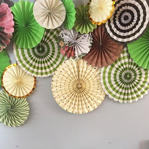 6pcs/set Round Tissue Paper Fans DIY Paper Crafts Rosettes Photo Backdrop for Birthday Wedding Baby Shower Party Hanging Decor