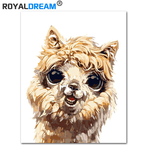 ROYALDREAM Wow-Alpaca Cute Animal DIY Painting By Numbers Kit Paint On Canvas Painting Calligraphy For Home Decor