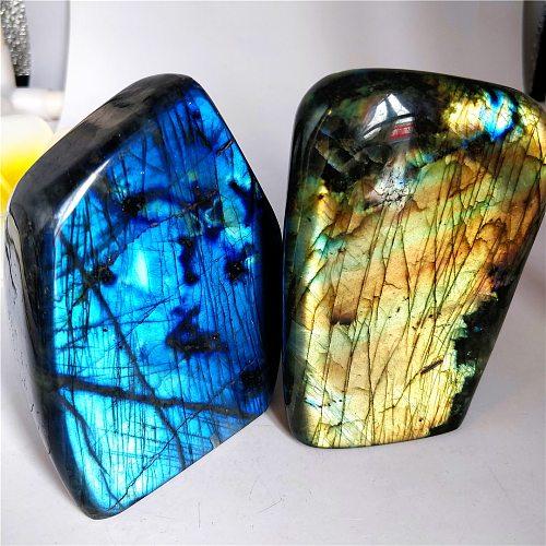 Natural Moonstone Polishing Labradorite Worry Stone Luminous Feldspar Desk Furnishing Decoration