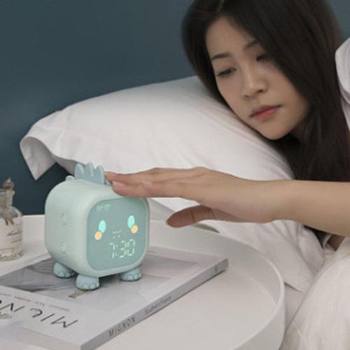 Cute Dinosaur Shape Smart Timekeeping Led Cartoon Alarm Clock With Temperature Display & Voice Control Digital Bedroom Decoratio