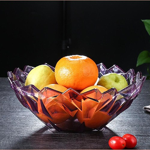 Sale Living Room Fruit Bowl Candy Dish Creative Acrylic Nut Plate Large Crystal Melon Fruit Plate Food Storage Container 10250E