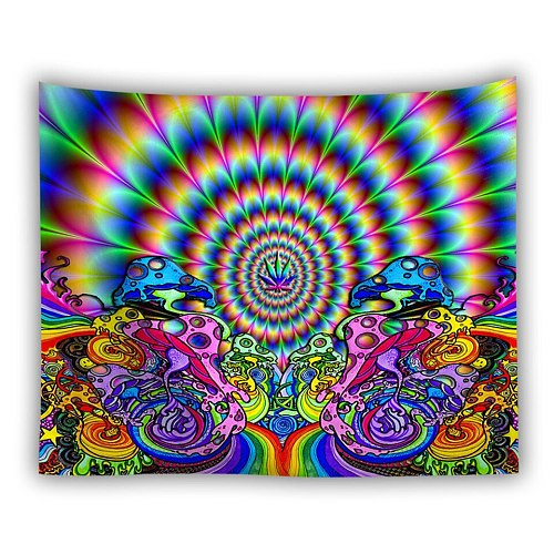 Bohemia Colorful Mandala Wall Hanging Tapestry Hippie Psychedelic Carpet Mushroom Plants Music Personality Wall Cloth Tapestries