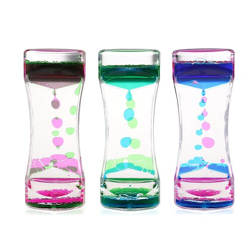 BESTOMZ 3pcs Double Colors Oil Hourglass Liquid Motion Bubble Timer with Pretty Waist Desk Decor Birthday Gift Children