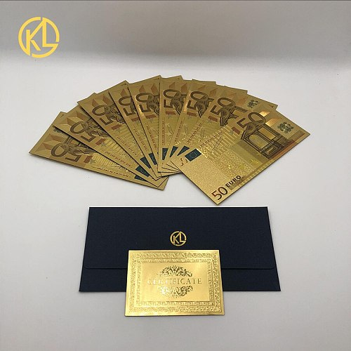 10 pcs/lot Colorful Euro 50 Gold Foil Banknote Euro Fake Banknotes Money Collection for Home Decoration Gift