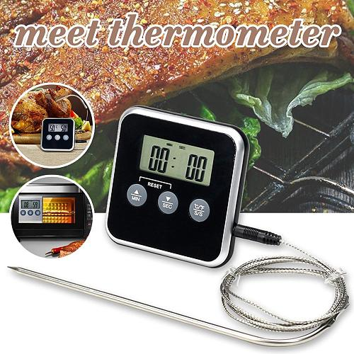 Digital Meat Thermometer Stainless Steel Probe Food Cooking BBQ Thermometer Clock Timer with Magnet, Stand